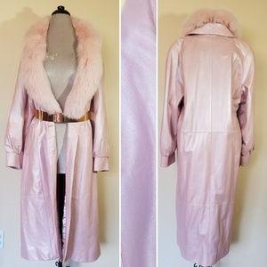 Henig Furs Pearlescent Pink Leather Fox Fur Coat